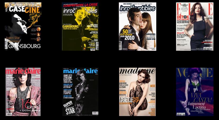 Et utvalg franske magasinforsider relatert til filmen