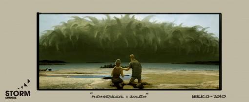 Konsepttegning fra «Mennesker i solen» av Nikolai Lockersen