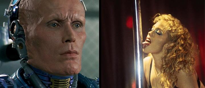 Verhoevenske øyeblikk fra henholdsvis Robocop (1987) og Showgirls (1995).