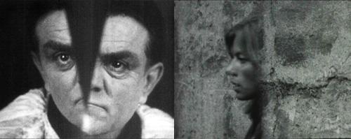 """Split screen-effekter i """"La coquille et le clergyman"""" (1928) og """"Heksene fra den forstenede skog (1976)."""