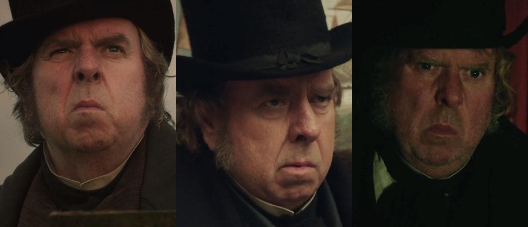 Timothy Spall i tre forskjellige scener som J.M.W. Turner i «Mr. Turner».