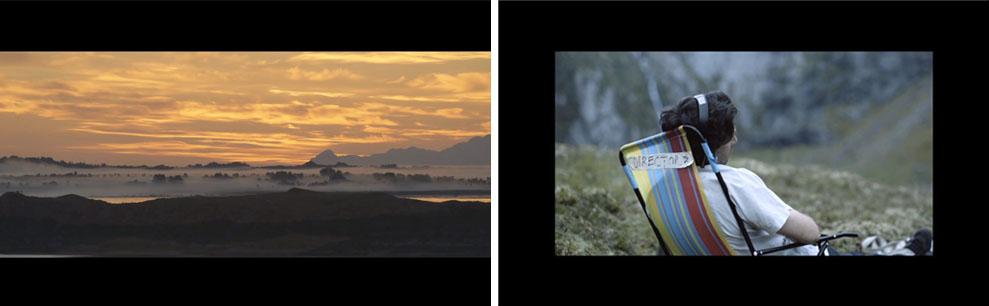 Filmen-i-filmen (i Scope) til venstre, bakom-materialet (i 1:1.85) til høyre.