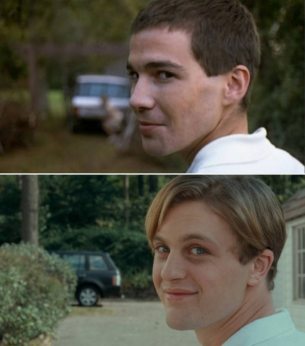 Arno Frisch i «Funny Games» (1997) tv. og Michael Pitt «Funny Games U.S.» (2007) th.