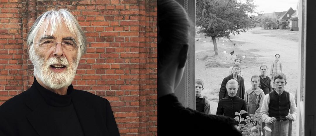 Haneke i København til venstre (foto: Truls Foss), fra «Det hvite båndet» til høyre.