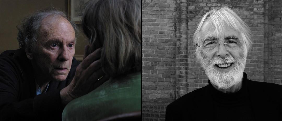 Fra «Amour» til venstre, Haneke i København til høyre (foto: Truls Foss).