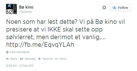 Bø Kino tok avstand fra sølvlerret på Twitter.