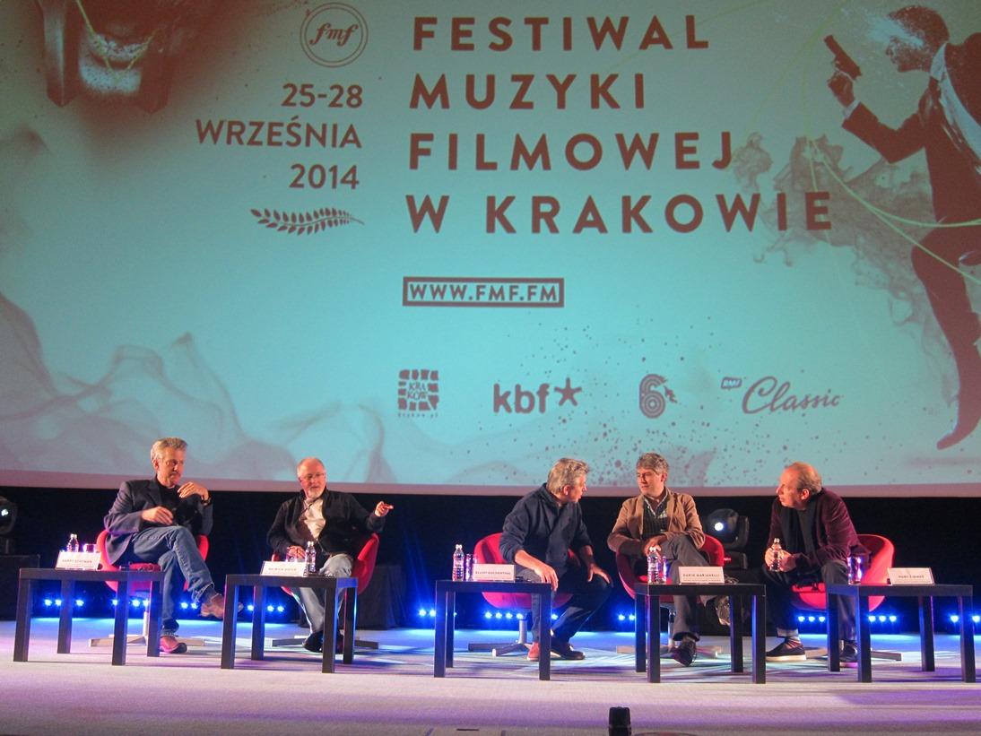 Panel med komponistene (fv) Garry Schyman, Patrick Doyle, Elliot Goldenthal, Dario Marianelli og Hans Zimmer. Foto: Thor J. Haga