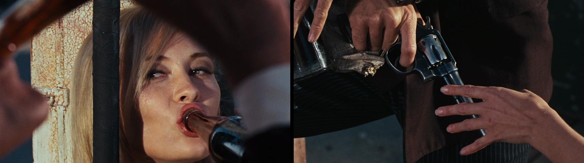 Mytologisering og hentydninger når Bonnie drikker Cola med Clyde, og han sier henne pistolen sin.