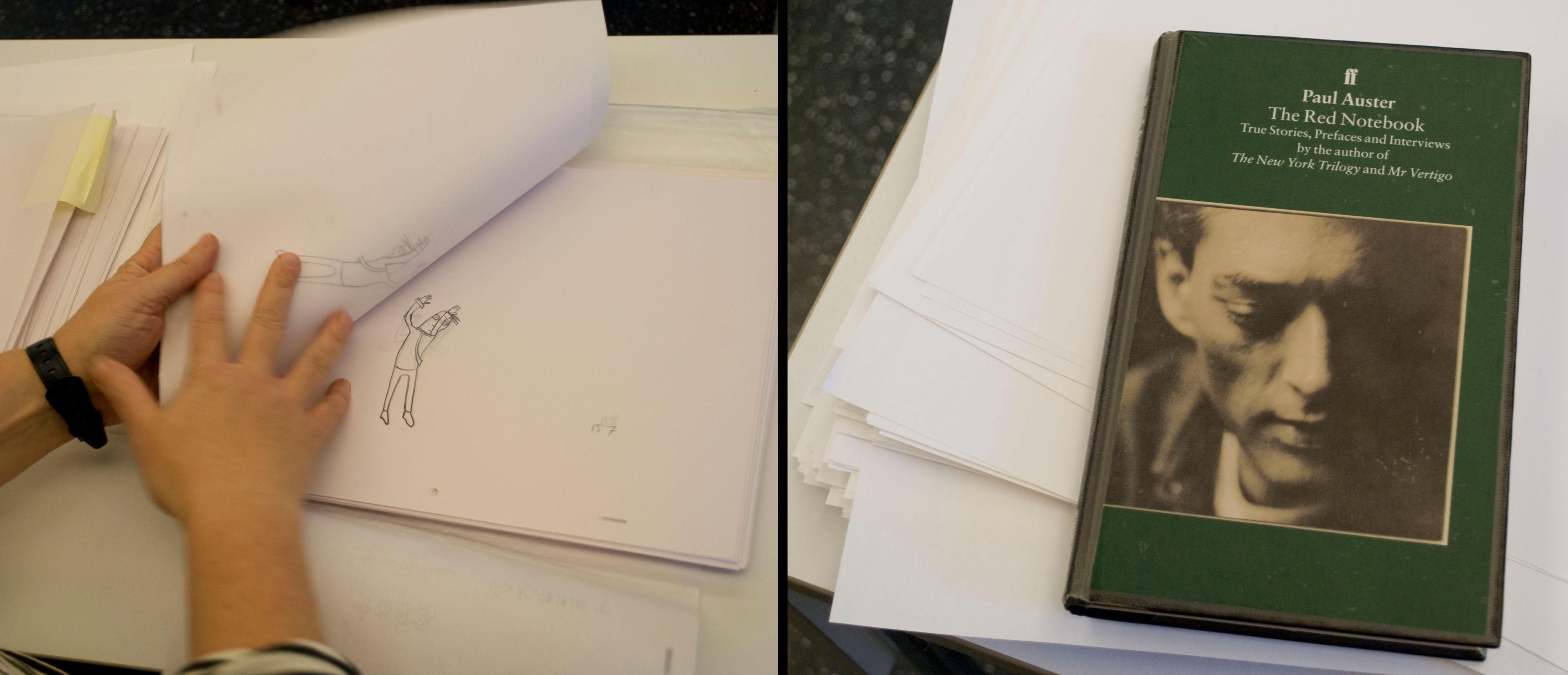 Kajsa Næss viser frem animasjonstegninger (venstre) og Paul Austers novellesamling «The Red Notebook» (høyre).