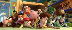 TOY STORY 3  (L-R) Bullseye, Mr. Potato Head, Mrs. Potato Head, Jessie, Hamm, Barbie, Woody, Rex, Slinky Dog, Buzz Lightyear,  Aliens   ©Disney/Pixar.  All Rights Reserved.