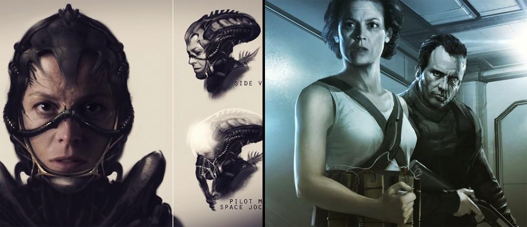 Neill Blomkamps egendesignede skisser til en ny «Alien»-film.
