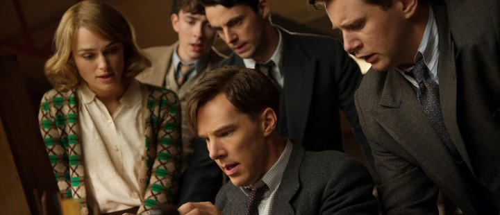 (L-R) Keira Knightley, Matthew Beard, Matthew Goode, Benedict Cumberbatch, and Allen Leech star in THE IMMITATION GAME.