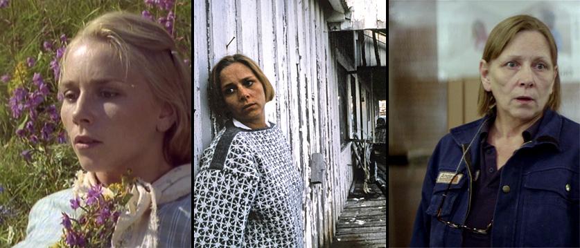 Fra venstre, Anne Krigsvoll i «Av måneskinn gror det ingenting» (1987), «Stella Polaris» (1993) og «Kvinner i for store herreskjorter» (2015).