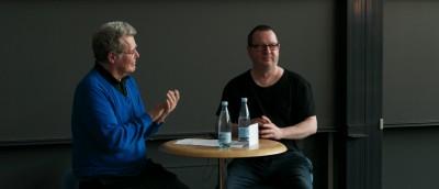 Peter Schepelern (tv) og Lars von Trier (th). Foto: Truls Foss