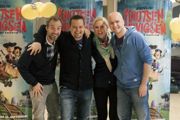 Teamet bak «Knutsen & Ludvigsen og den fæle Rasputin» har all grunn til å smile. Fra venstre: regissør Rasmus A. Sivertsen, produsent Eric Vogel, produsent Ingun Sundelin og regissør Rune Spaans.