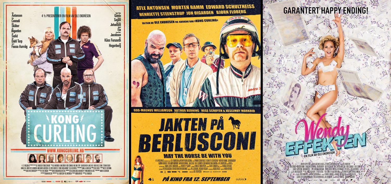 Ole Endresens tre filmer «Konge Curling», «Jakten på Berlusconi» og «Wendyeffekten».