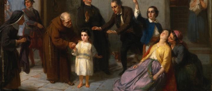 Utsnitt av maleriet «The Kidnapping of  Edgardo Mortara» av Moritz Daniel Oppenheim (1862)