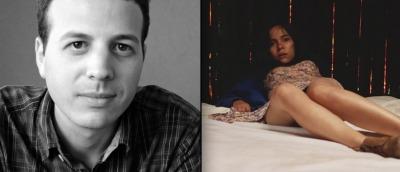 Amat Escalante (til venstre), ved siden av et frysbilde fra hans nye film «Det fremmede».