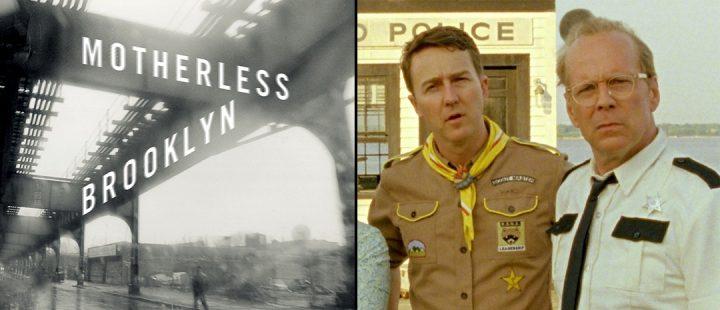 Bokomslaget til Jonathan Lethems «Motherless Brooklyn» (faksimile) og Edward Norton med Bruce Willis i «Moonrise Kingdom» (2012).