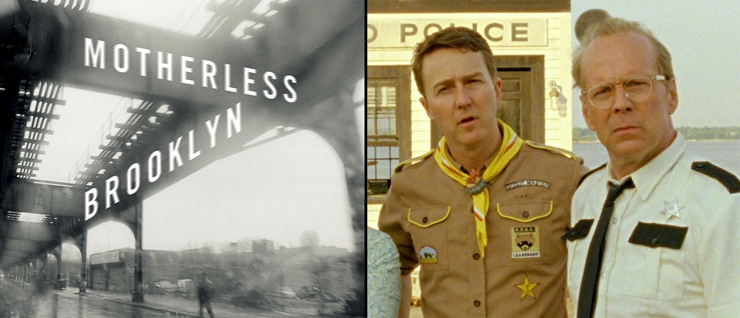 Bokomslaget til Jonathan Lethems «Motherless Brooklyn» (faksimile) og Edward Norton med Bruce Willis i «Moonrise Kingdom» (2012).
