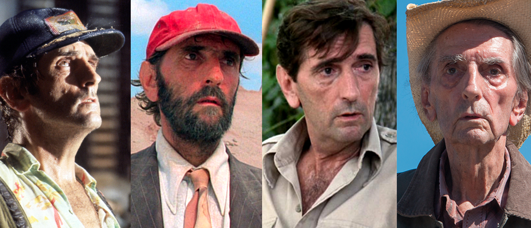 Fra venstre, Harry Dean Stanton i «Alien», «Paris, Texas», «Pretty in Pink» og «Lucky».