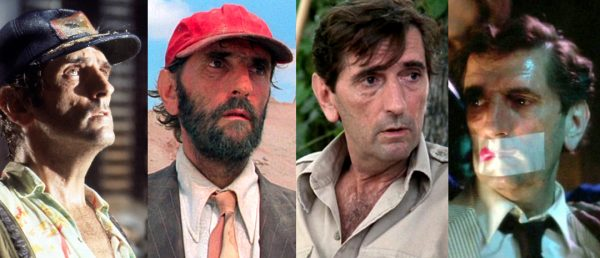 Fra venstre, Harry Dean Stanton i «Alien», «Paris, Texas», «Pretty in Pink» og «Wild at Heart».