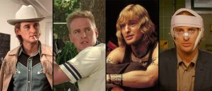 Fra venstre, Owen Wilson i «The Royal Tenenbaums», «Bottle Rocket», «Zoolander» og «The Darjeeling Limited».