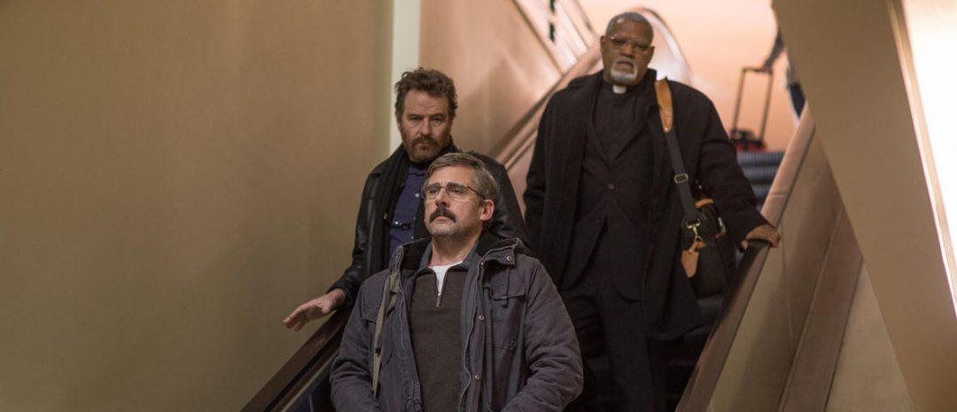Bildet er hentet fra «Last Flag Flying», Richard Linklaters 2017-film, med Bryan Cranston, Laurence Fishburne, Steve Carell i hovedrollene.
