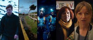 Henrik Martin Dahlsbakkens fem spillefilmer, fra venstre: «Å vende tilbake», «Sensommer», «Cave», «Rett vest» og «En affære».