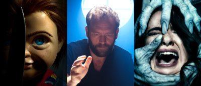 Fra «Child's Play» (2019, til venstre) og «Polaroid» (2017, til høyre. Lars Klevberg i midten, under innspillingen av førstnevnte.