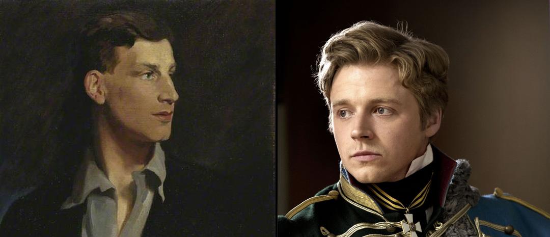 Fra venstre: Portrett av Siegfried Sassoon malt av Glyn Warren Philpot i 1917 (public domain). Jack Lowden i serien «War and Peace» (BBC, 2016).