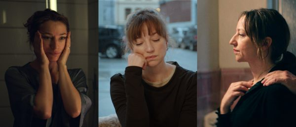 Andrea Bræin Hovig i tre av sine nylige filmroller, fra venstre: «En affære» (2018), «Lyset fra sjokoladefabrikken» (2020) og «Håp» (2019).