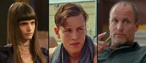 Klare for Ruben Östlunds «Triangle of Sadness», fra venstre: Charlbi Dean Kriek («Black Lightning»), Harris Dickinson («Beach Rats») og  Woody Harrelson («Edge of Seventeen»)