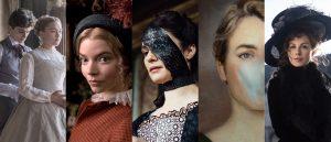 Fra venstre: Greta Gerwigs «Little Women» (2019), Autumn de Wildes «Emma» (2020), Yorgos Lanthimos' «The Favourite» (2018), Céline Sciammas «Portrett av en kvinne i flammer» (2019) og Whit Stillmans «Love & Friendship» (2016).