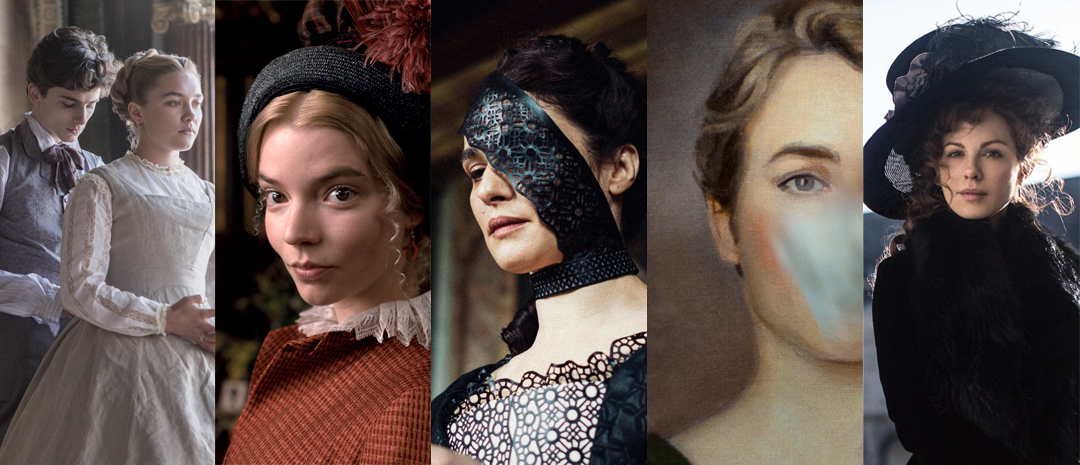 Fra venstre: Greta Gerwigs «Little Women» (2019), Autumn de Wildes «Emma» (2020), Yorgos Lanthimos' «The Favourite» (2018), Céline Sciammas «Portrett av en kvinne i flammer» (2019) og Whit Stillmans «Love & Friendship» (2016).