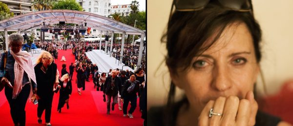Fra venstre: Den røde løperen under Cannes-festivalen i 2019 og filmkritiker Christine Masson.