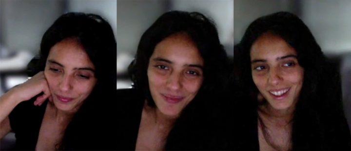 Regissør og skuespiller Hafsia Herzi er aktuell med debutfilmen «You Deserve a Lover». (Foto: frysbilder fra samtale med Montages over Skype.)