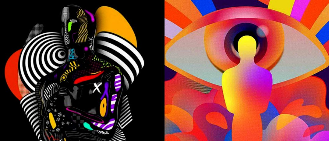 To eksempler av syv motiver i årets Oscar-grafikk/-plakater, fra ulike kunstnere. Her, fra venstre: Temi Coker og Shawna X sine bidrag.