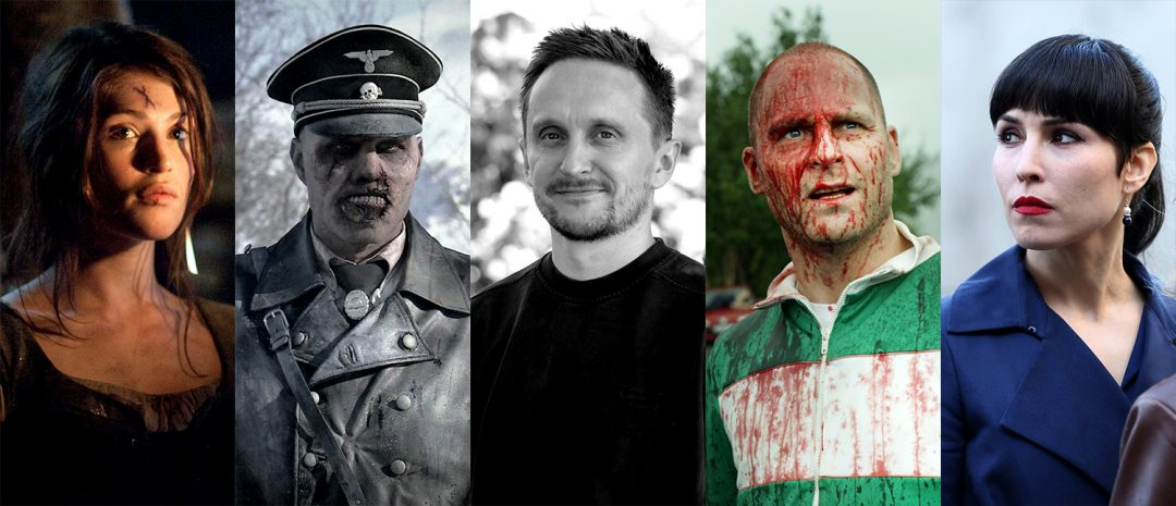 I Tommy Wirkola-filmografien, fra venstre: «Hansel & Gretel – Witch Hunters» (2013), «Død snø» (2009), Wirkola, «Død snø 2» (2014) og «What Happened to Monday» (2017).