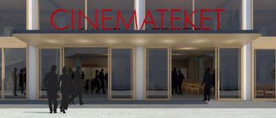 Et utkast til hvordan den nye fasaden til Cinemateket i Oslo kan se ut (Arkitektkontoret Saaha).