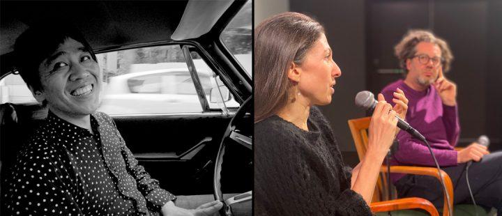Fra venstre: Arkitekt Ryue Nishizawa i «Tokyo Ride» og filmskaperne Bêka & Lemoine i samtale på Kunstnernes Hus i Oslo, lørdag 23. oktober 2021. (Foto: Beka & Lemoine og Montages)